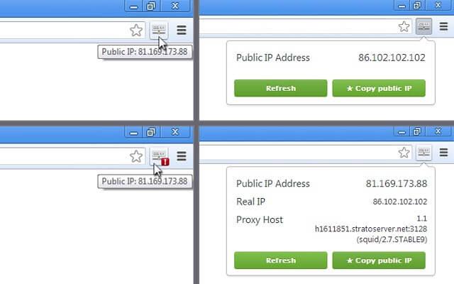 Verschillende schermen van de Chrome Extensie IP-adres bekijken.